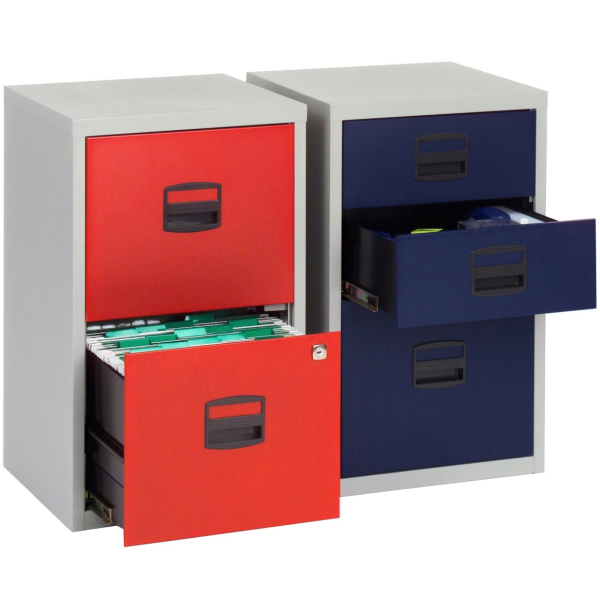 Unique Shallow File Cabinet 3 Drawer Locking A4 Filing Cabinet Pfa3 Red