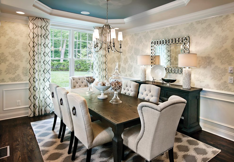Unique Upholstered Dining End Chairs Nailhead Dining Room Chairs Dining Room Transitional With
