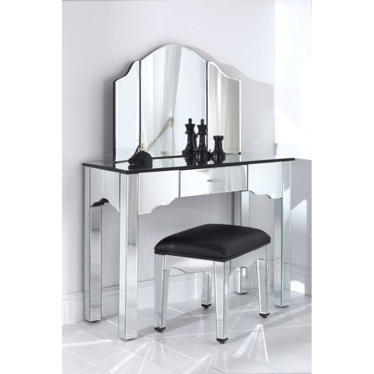 Unique Vanity Sets With Mirror And Bench Furniture Luxurious Small Glass Makeup Vanity With Tri Fold
