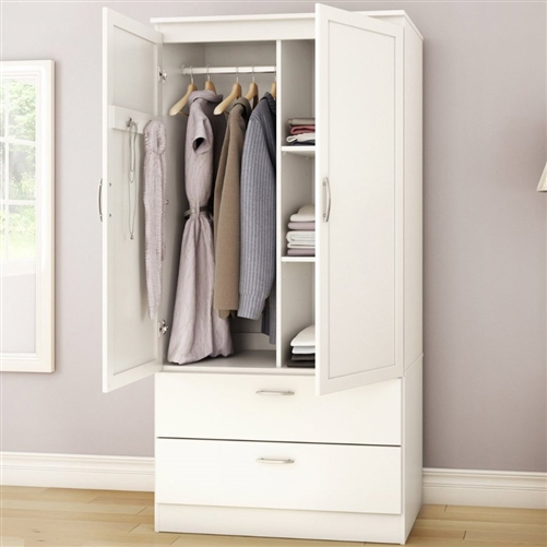 Unique White Armoire With Drawers White Armoire Bedroom Clothes Storage Wardrobe Cabinet With 2