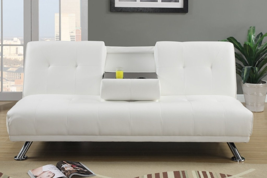 Unique White Leather Futon Sofa Modern White Leather Futon Sofa Bed With Cup Holders And Drink