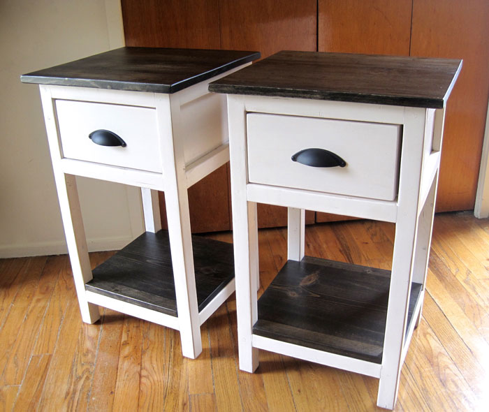 Unique White Nightstand With Wood Top Ana White Mini Farmhouse Bedside Table Plans Diy Projects