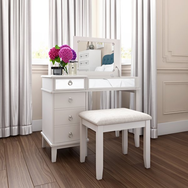 Unique White Vanity Desk With Mirror Makeup Tables And Vanities Youll Love Wayfair