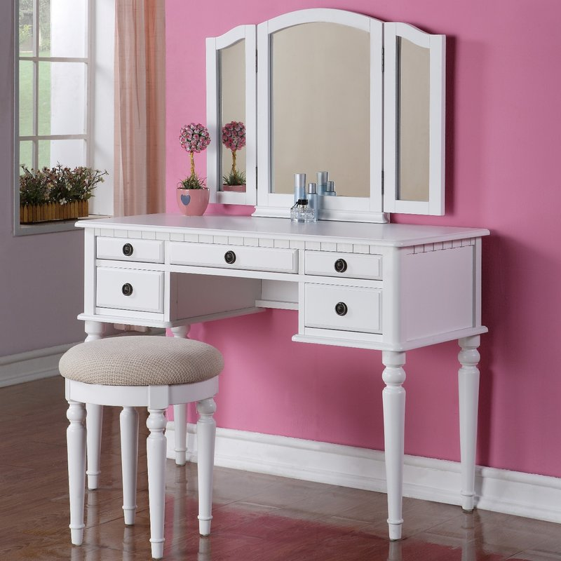 Unique White Vanity With Mirror Makeup Tables And Vanities Youll Love Wayfair