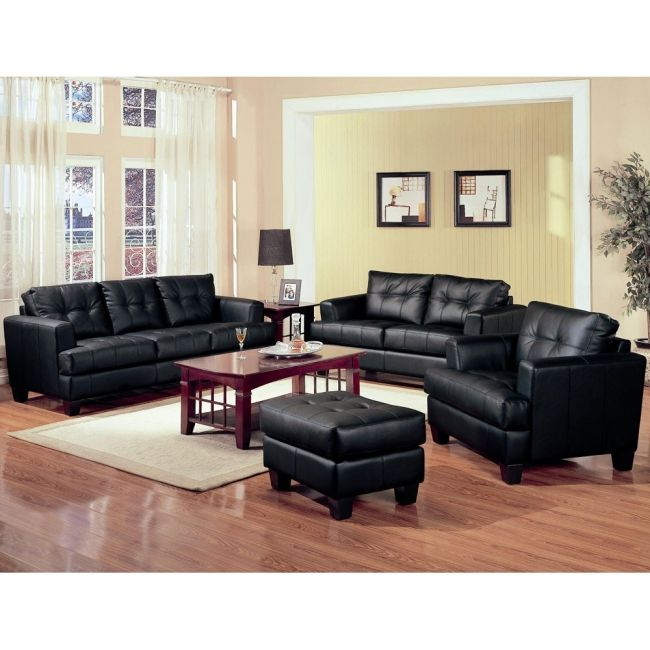 Wonderful 2 Piece Leather Living Room Set Samuel 2 Piece Black Leather Living Room Set Modern Sofa Company