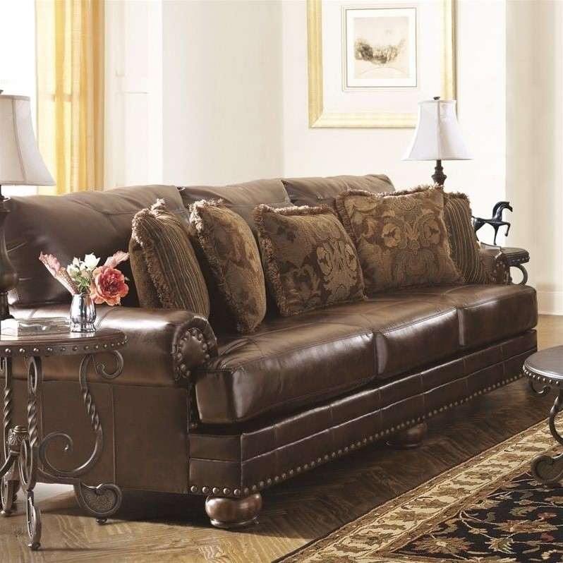 Wonderful Ashley Brown Leather Couch Ashley Furniture Chaling Leather Sofa In Antique 9920038 Couch