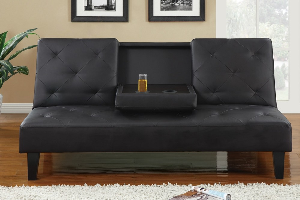 Wonderful Black Leather Futon Couch Best Black Leather Futon Couch 83 For Your Modern Sofa Inspiration