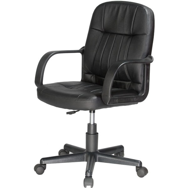Wonderful Black Leather Office Chair Comfort Products Mid Back Black Leather Office Chair Free