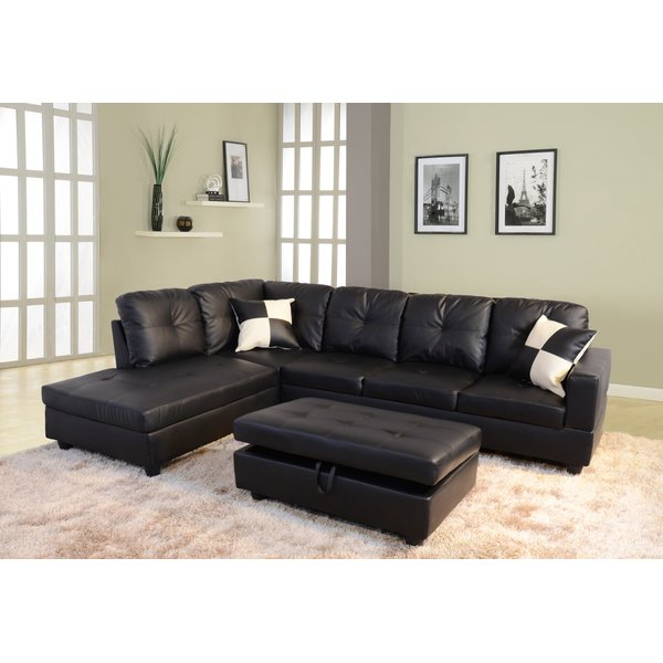 Wonderful Black Sectional Sofa With Chaise Lovable Black Leather Sectional With Chaise Black Leather