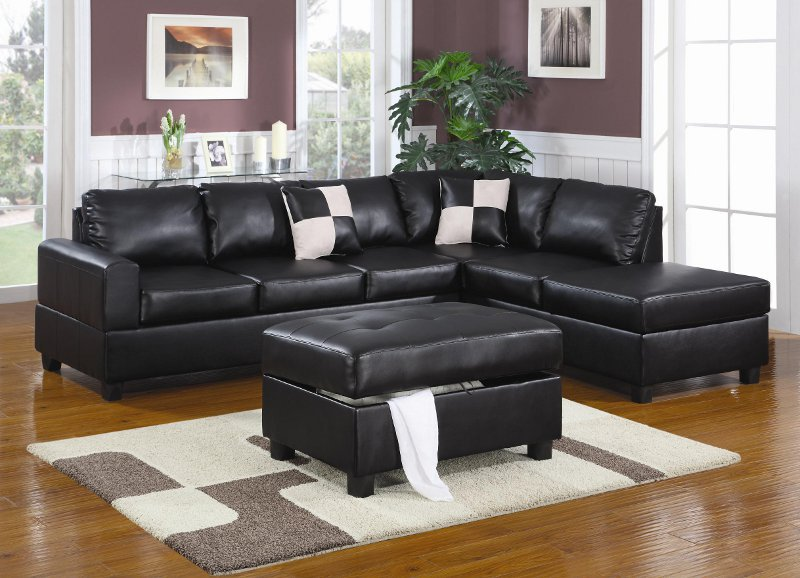 Wonderful Black Sectional Sofa With Chaise Remarkable Black Leather Sectional Sofa With Black Leather