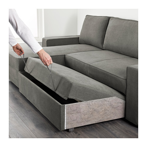 Wonderful Chaise Longue Sofa Bed Vilasund Sofa Bed With Chaise Longue Borred Grey Green Ikea