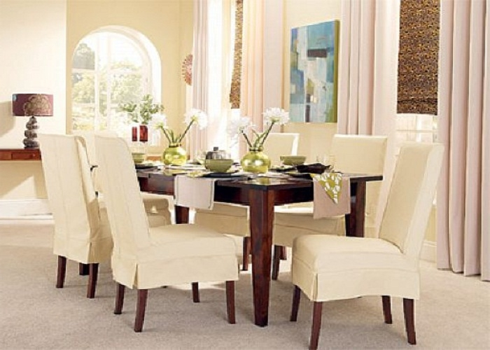 Wonderful Covered Dining Chairs Dining Room Slip Cover Chair Large And Beautiful Photos Photo To