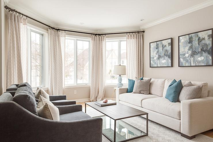 Wonderful Cream Living Room Furniture Cream Sofa With Blue Pillows Transitional Living Room
