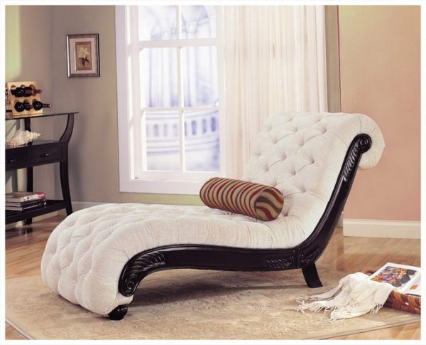 Wonderful Cream Tufted Chaise Lounge Black Wooden Base Frame Combined Cream Color Fur Rug Also White