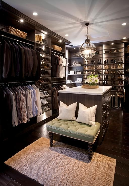 Wonderful Custom Walk In Closets Custom Walk In Closet Features Dark Stained Built Ins Boasting