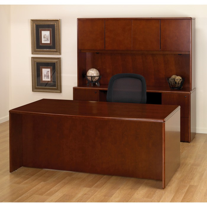 Wonderful Dark Wood Office Desk Executive Office Desk Suite In Dark Cherry Wood