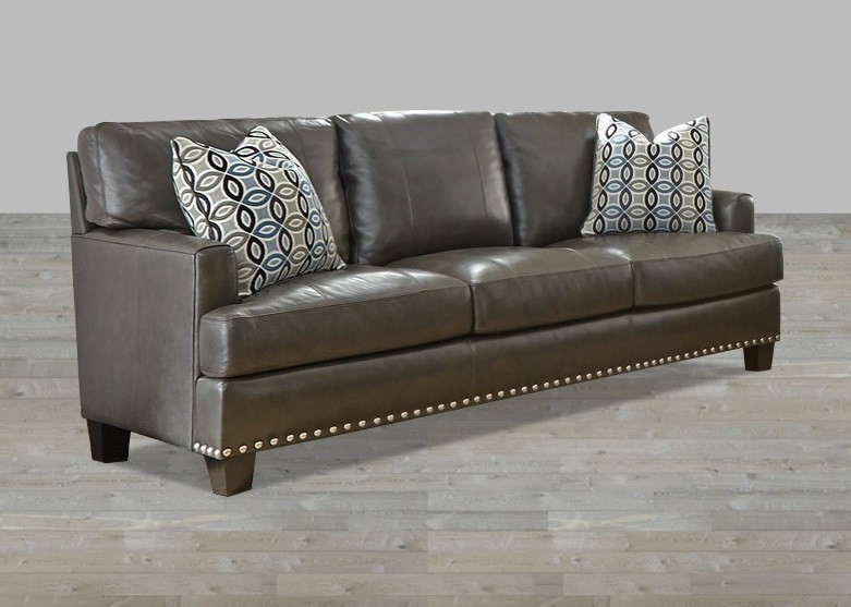 Wonderful Gray Leather Sofa And Loveseat Top Grain Leather Sofa With Nailhead