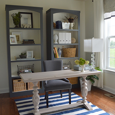 Wonderful Home Office Desk And Bookshelf Check Out The Diy Bookshelves In This Home Office
