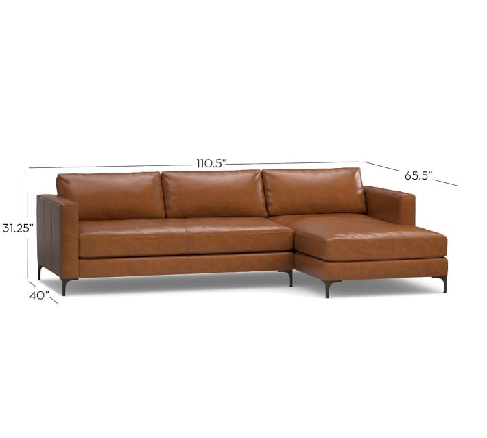 Wonderful Leather Couch With Chaise Jake Leather Sofa With Chaise Sectional Pottery Barn