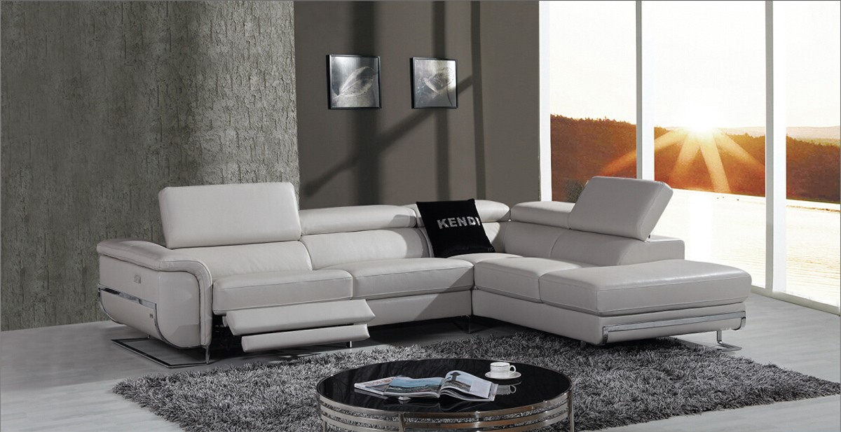 Wonderful Leather Sectional Sofa With Chaise Casa E9054 Modern Grey Leather Sectional Sofa W Recliner