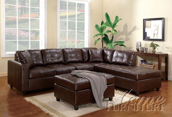 Wonderful Leather Sectional Sofa With Chaise Wonderful Brown Leather Sectional Sofa Acme Furniture Milano Brown