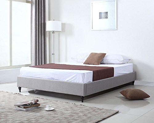 Wonderful Non Slatted Platform Bed Home Life Cloth Silver Linen Chinese Non Headboard Platform Bed