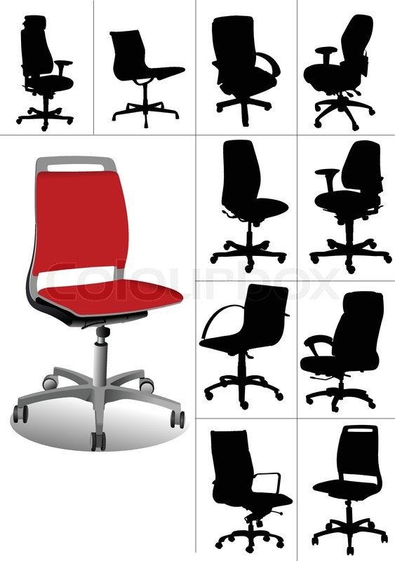 Wonderful Office Chair Set Big Set Illustrations Of Office Chairs Isolated On White