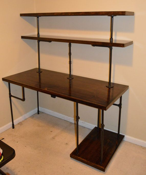 Wonderful Office Desk With Shelves Chris Industrial Computer Desk Shelves Rallisonwoodworks
