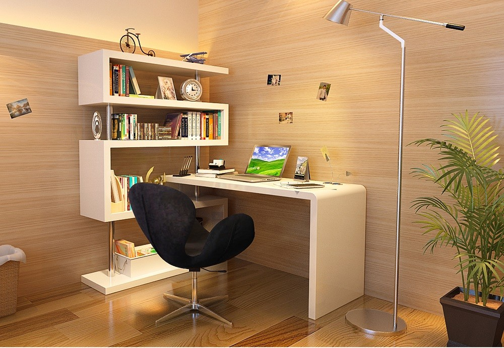 Wonderful Office Desk With Shelves Modern Style Kd02 White Office Desk With Tall Shelves Jm Furniture