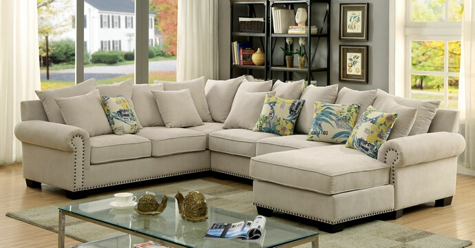 Wonderful Sectional Sofa With Nailhead Trim 3 Pc Skyler Collection