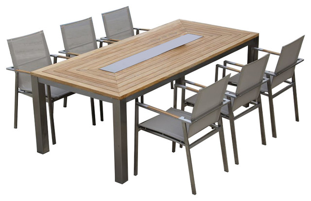 Wonderful Steel Dining Table Teak Steel Dining Table Set Signature Alzette Collection