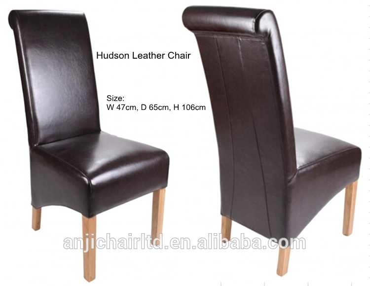 Wonderful Tall Back Leather Dining Chairs Classic Roll Back Wood Frame High Back Leather Dining Chair View
