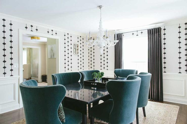 Wonderful Turquoise Dining Room Chairs Blue Velvet Dining Chairs Design Ideas