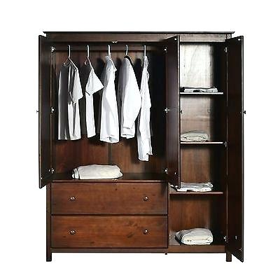 Wonderful Wardrobe Armoire For Hanging Clothes Wood Paulsstainedgl