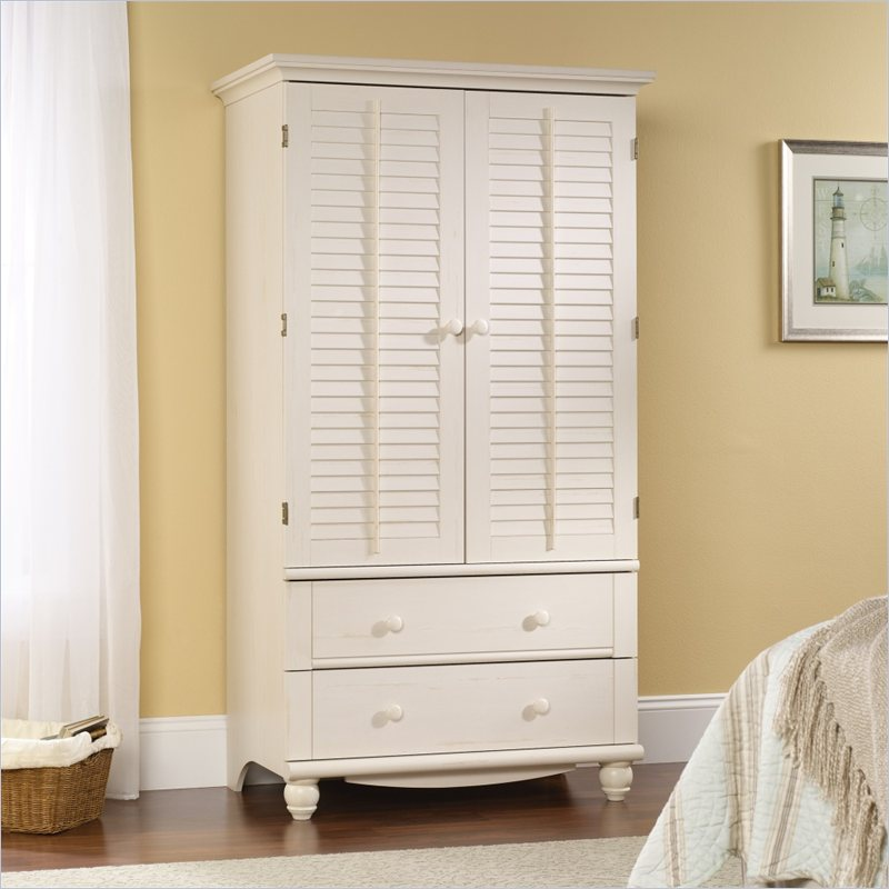 Wonderful White Armoire With Drawers Sauder Harbor View Armoire Antique White 158036