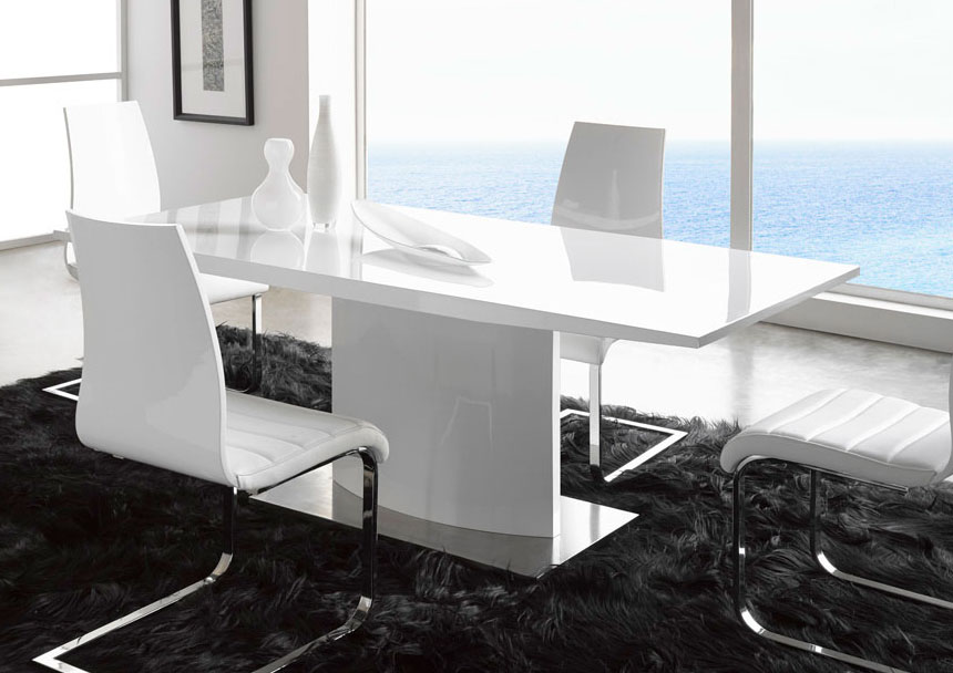Wonderful White Lacquer Dining Table Modern Extremely Contemporary White Lacquered Dining Table With Heavy