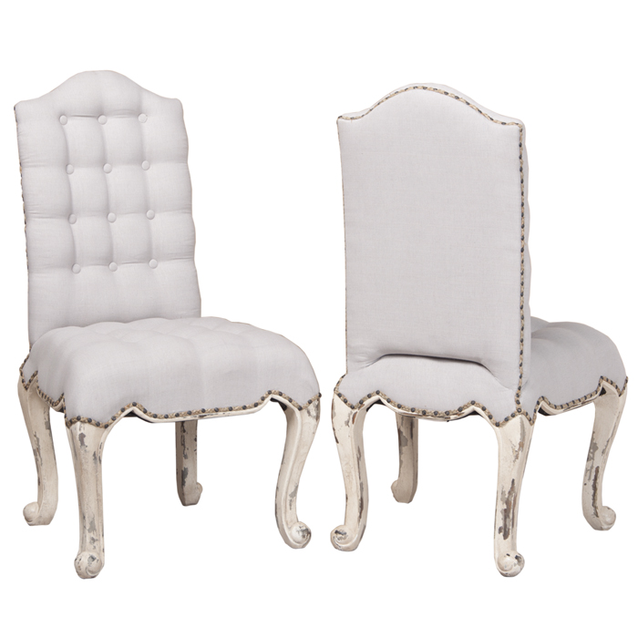 Wonderful White Tufted Dining Chairs Nailhead Cabriole Dining Chair White Tufted