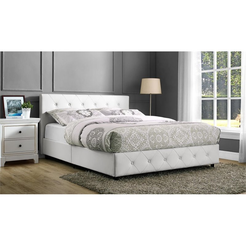 Wonderful White Upholstered Bed Frame Upholstered Faux Leather Full Bed In White 4027139